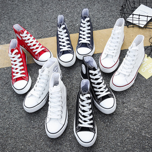 高帮帆布鞋女鞋秋季韩版百搭ulzzang2020年新款休闲布鞋小白板鞋图片