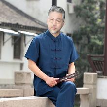 中国风cu0装男士亚an爷老的衣服爸爸棉麻短袖套装中老年夏装