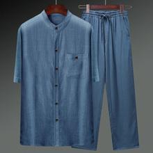 棉麻唐装男夏季le4式短袖衬ft复古亚麻套装中老年的爸爸男装