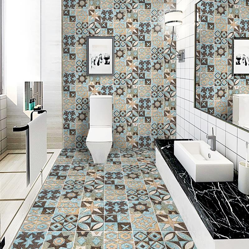 瓷砖贴纸卫生间地面装饰防水耐磨花砖翻新地贴自粘阳台地板贴墙贴