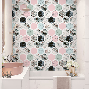 Net red room layout wallpaper self-adhesive wall stickers kitchen bathroom waterproof tile stickers decorative floor stickers