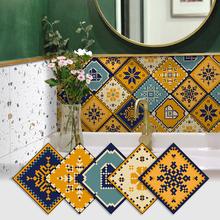 自粘厨房防油卫生间xu6水墙贴地ye腰线墙纸阳台装饰瓷砖贴纸