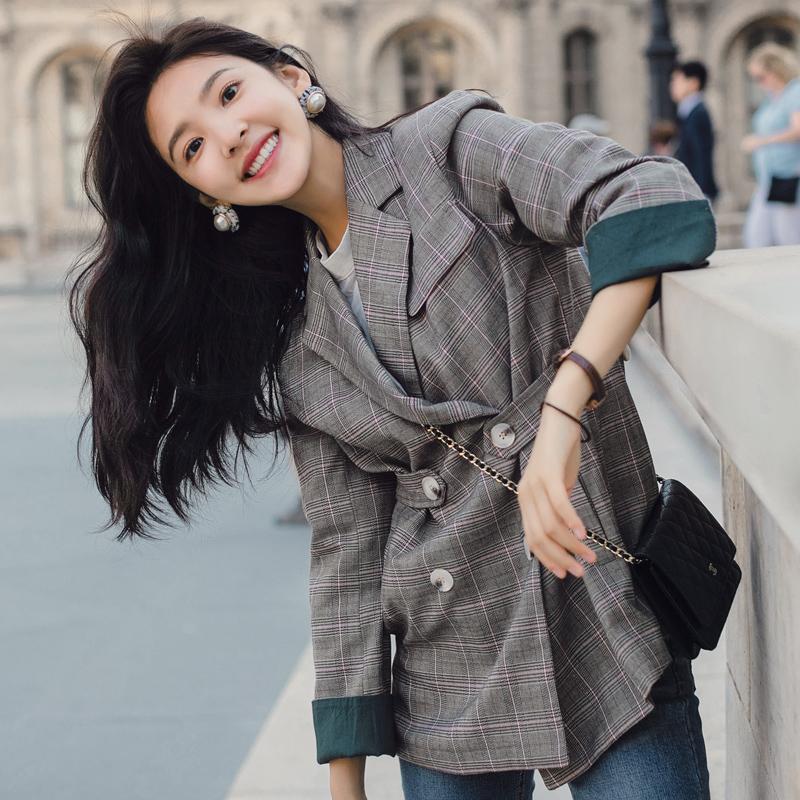 秋季新款2019格子网红小西装外套女韩版港味复古英伦宽松格纹西服