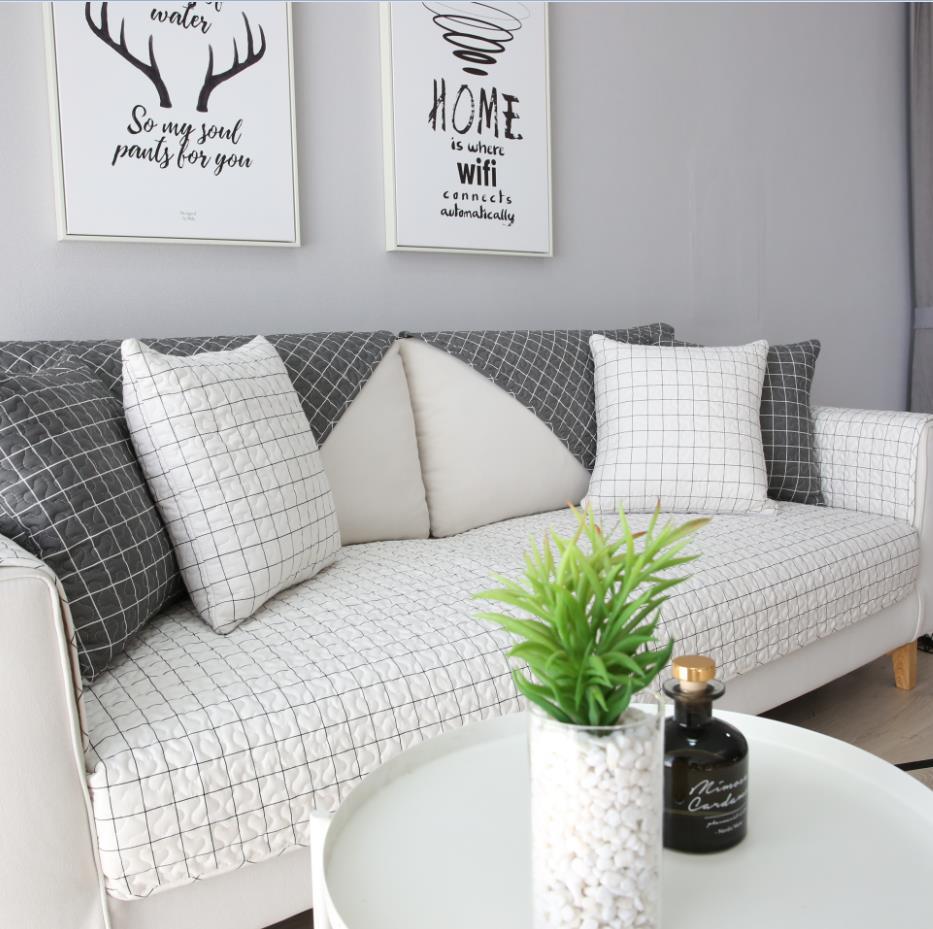 北欧纯棉沙发垫简约现代全棉布艺四季通用防滑客厅坐垫皮沙发套罩