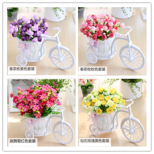 Small potted artificial flower set big wheel float decoration fake flower living room display silk flowers home decorations ornaments