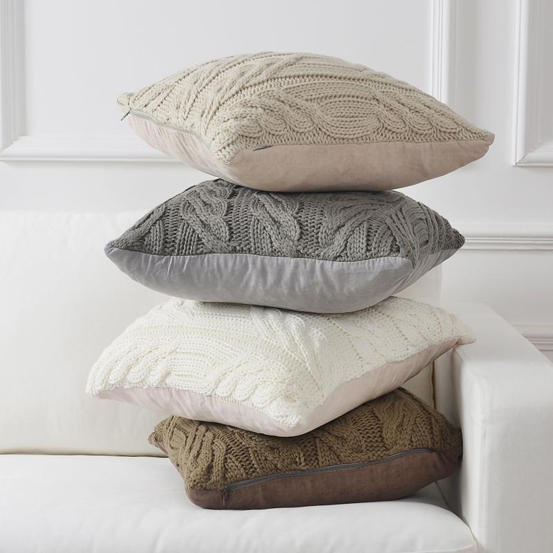 北欧风毛线针织沙发抱枕宜家靠垫床头方形枕头