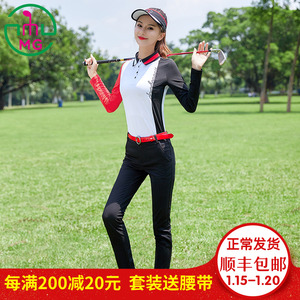 2019 autumn and winter golf clothing clothes women's suit long-sleeved T-shirt top black sports casual long pants
