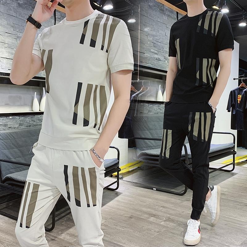 小竹子木槿男装【两件套】美伊夏季新款修身套装男短袖迪匹斯T恤
