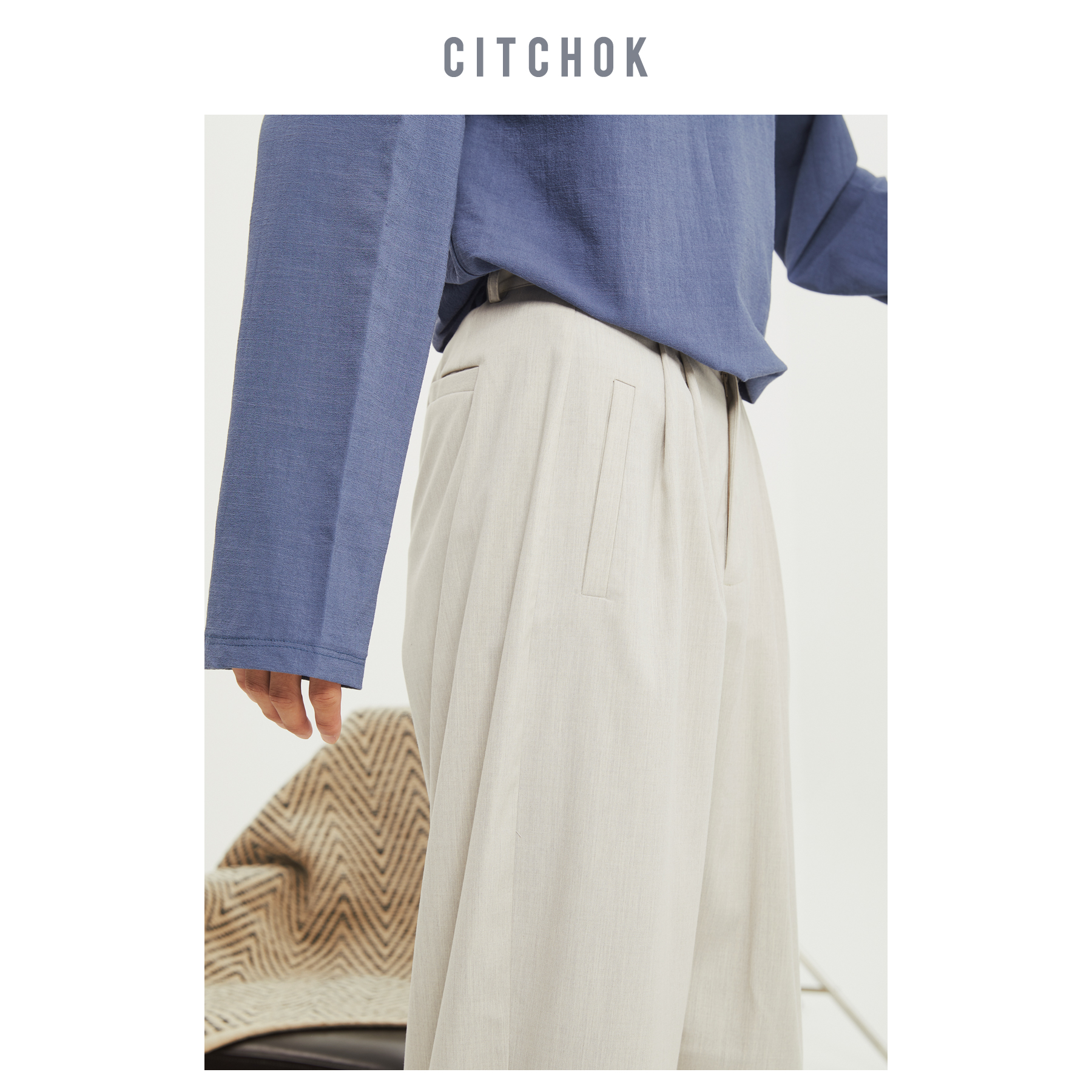 CITCHOK原创设计   浅灰色 chic风 宽松休闲长裤男直筒
