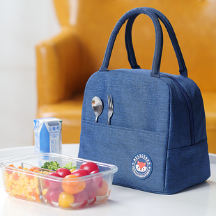 学生饭盒手提包铝箔加厚大号保温袋带饭包便当袋上班族装饭盒袋子图片