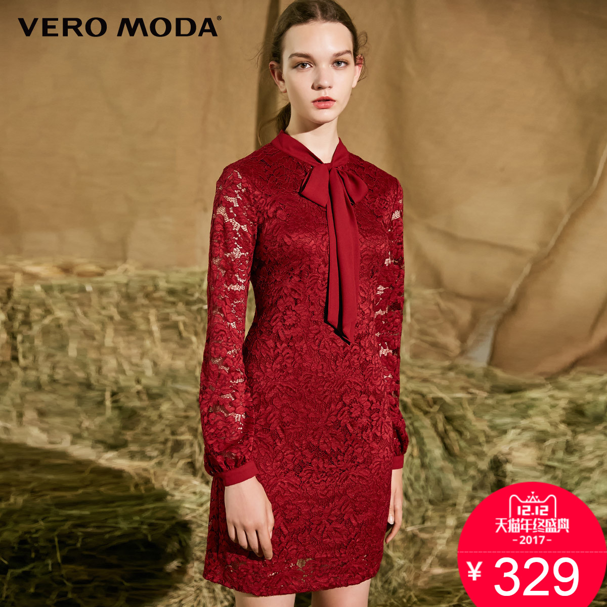 聚12,12活动价329Vero Moda领部系带透视蕾丝连衣裙 317361516