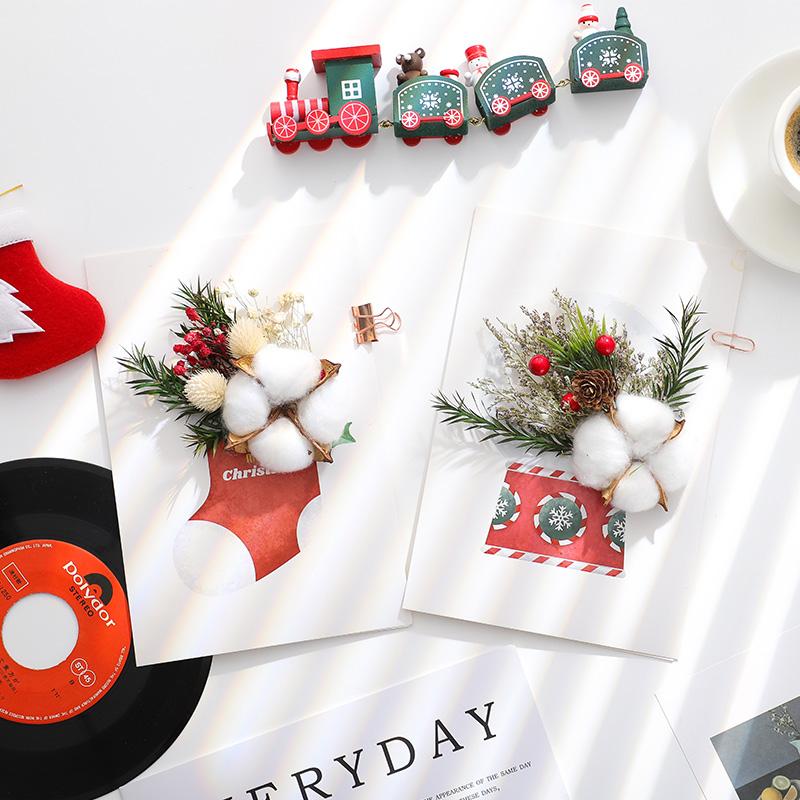 创意圣诞节平安夜diy手工自制干花立体贺卡礼物祝福小卡片可定制