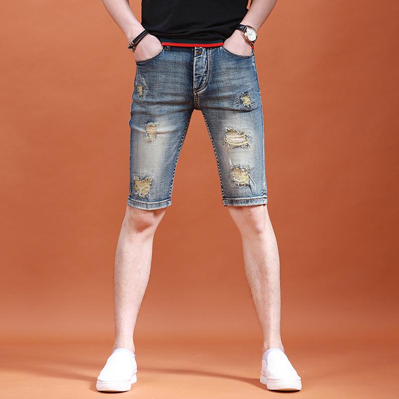 2020夏季男士破洞五分牛仔裤男潮牌5分裤薄款牛仔短裤男韩版裤子