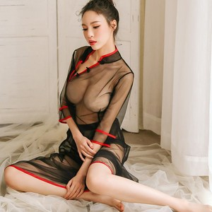 Sexy tulle transparent pajamas cheongsam sexy uniform temptation underwear set lace embroidery night skirt women summer women