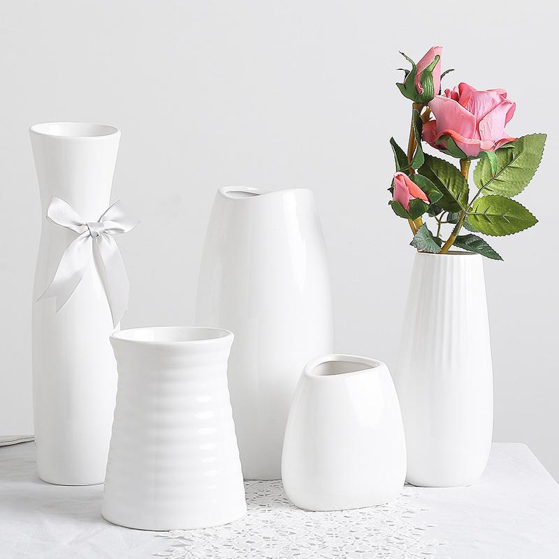 新中式陶瓷花瓶白色水培客厅家居简约北欧装饰品绿萝桌面插花摆件