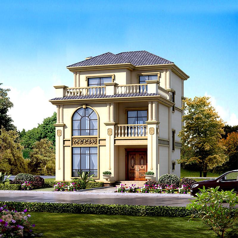 3202三3层小户型别墅设计图纸全套欧式新农村自建房小洋房100平方图片