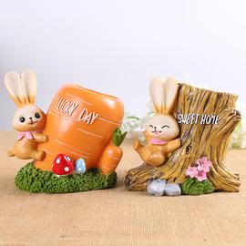 韩国创意时尚桌面收纳摆件卡通可爱木质儿童笔筒小清新学生女礼物