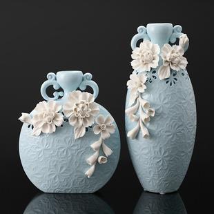欧式创意陶瓷花瓶样板房客厅家居酒柜装饰品插花新家摆件结婚礼物
