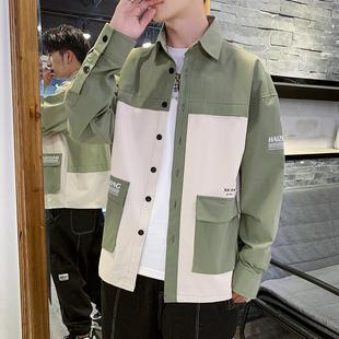 衬衫男长袖韩版潮流秋装上衣服休闲帅气加绒保暖寸衣工装衬衣外套