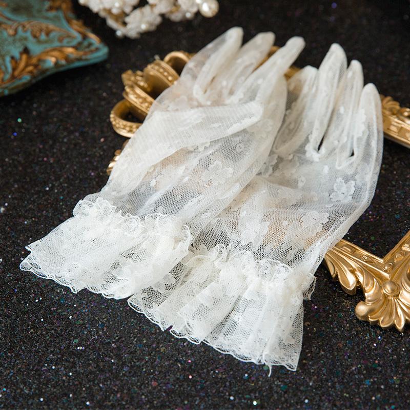 水舞 新娘 韩式短款手套乳白色花朵结婚纱五指手套配件 N0114