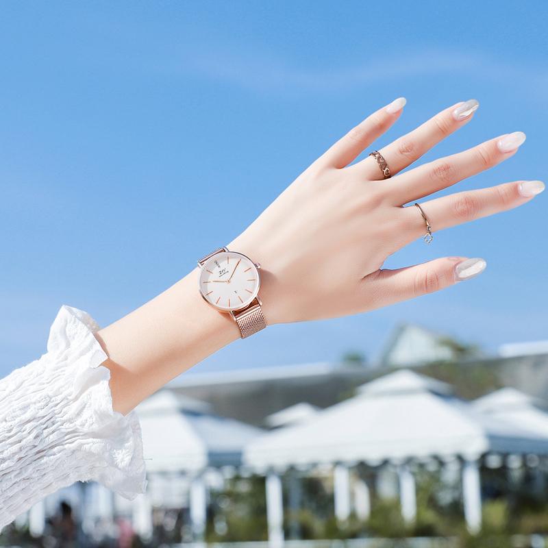 韩版时尚手表女ins风学生细带小巧小众轻奢dw表简约气质女士手表