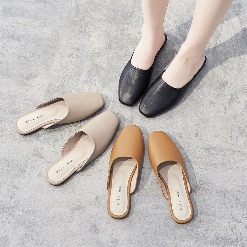 2020夏季新款韩版真皮包头拖鞋牛皮平底半拖鞋牛津软底外穿凉拖女