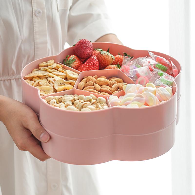 糖果盒瓜子盘干果盘客厅创意家用零食盒坚果盘分格带盖果盘收纳盒