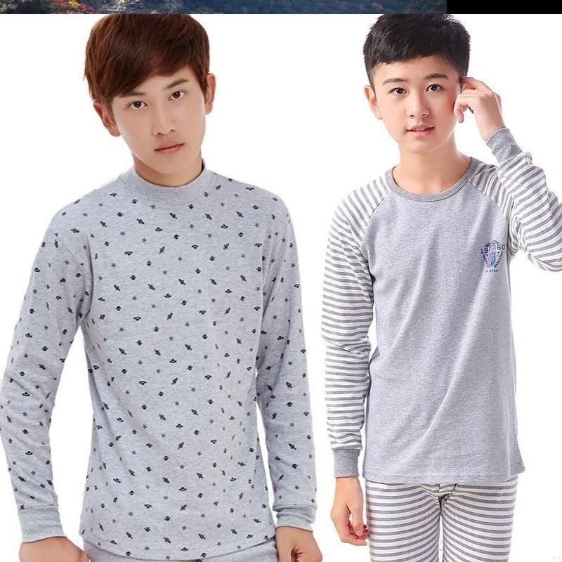 青少年男大童秋衣秋裤初中高中学生胖男孩加肥加大码棉内衣套装。