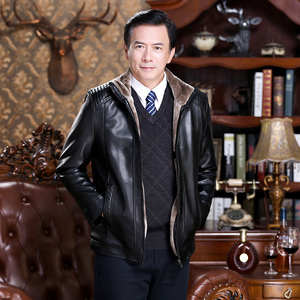 2019 middle-aged men's leather jacket autumn and winter dad men's winter jacket middle-aged and elderly plus velvet thick leather jacket