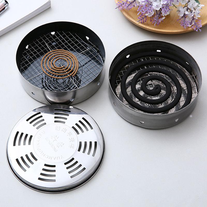 新款不锈钢蚊香盘蚊香架蚊香炉子托盘家用带盖防火蚊香盒接灰盘