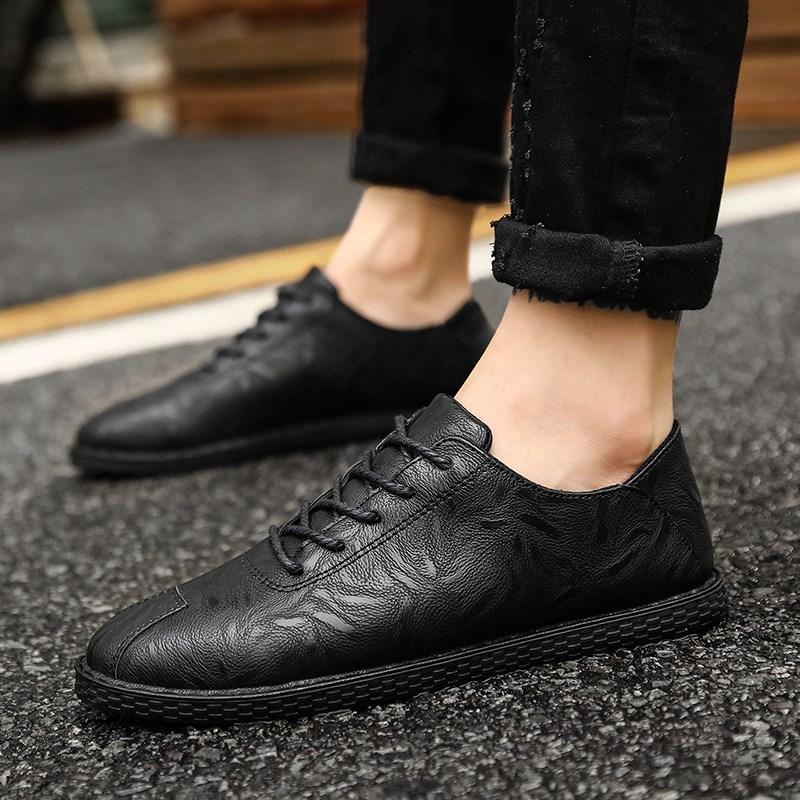 夏季韩版潮流百搭社会复古小皮鞋男透气学生英伦男士休闲鞋子潮鞋