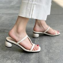 鞋子夏外穿米白色绿色女鞋中跟ad11拖大码yz-43(小)码30-33 YM
