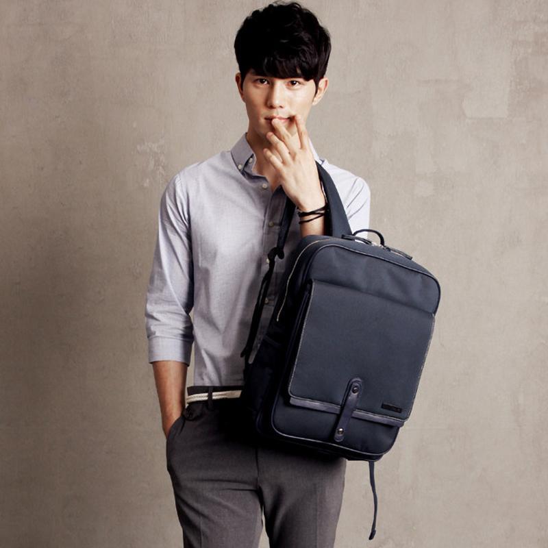 韩国EXIT立体方形背包2020款青年男士双肩包学生书包笔记本电脑包