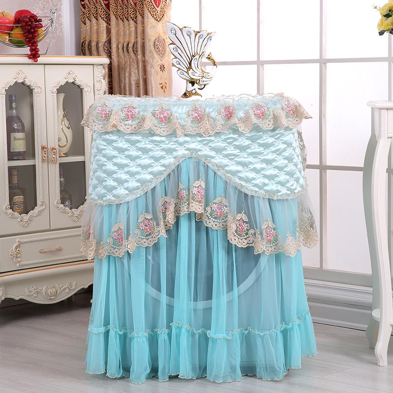 布艺蕾丝滚筒洗衣机罩防晒防尘全自动洗衣机套子通用遮阳布 蓝色