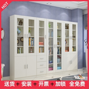 Simple and modern bookcase bookcase combination with door glass door file cabinet wood with lock with drawer storage locker