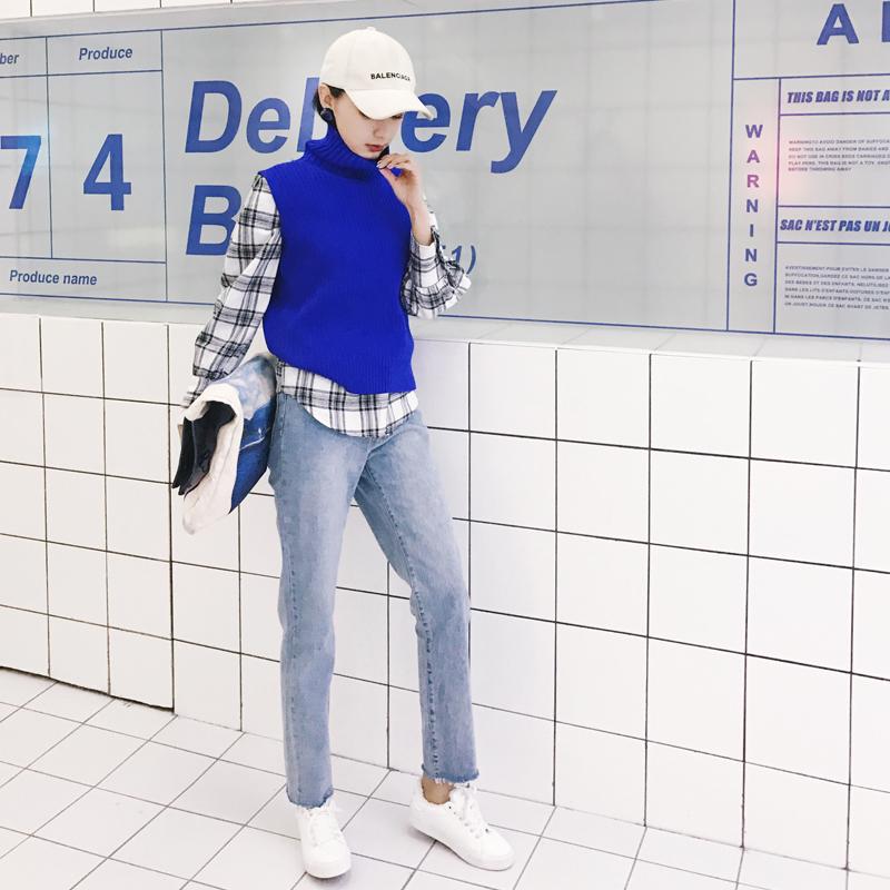 牛仔裤女2018春装新款蓝色手洗做旧长裤毛边百搭宽松直筒裤子