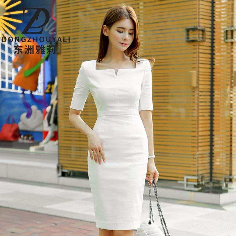 东洲雅莉职业OL连衣裙2019夏装新款白领气质通勤修身中长包臀裙子