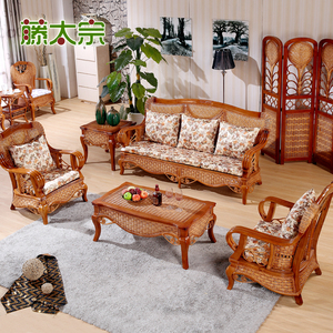 Residential living room rattan furniture rattan single double double three rattan sofa combination hotel rattan leisure rattan chair