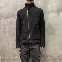 UNNAMING XIsr8土耳其原on黑色真皮外套修身短式立领皮草夹克