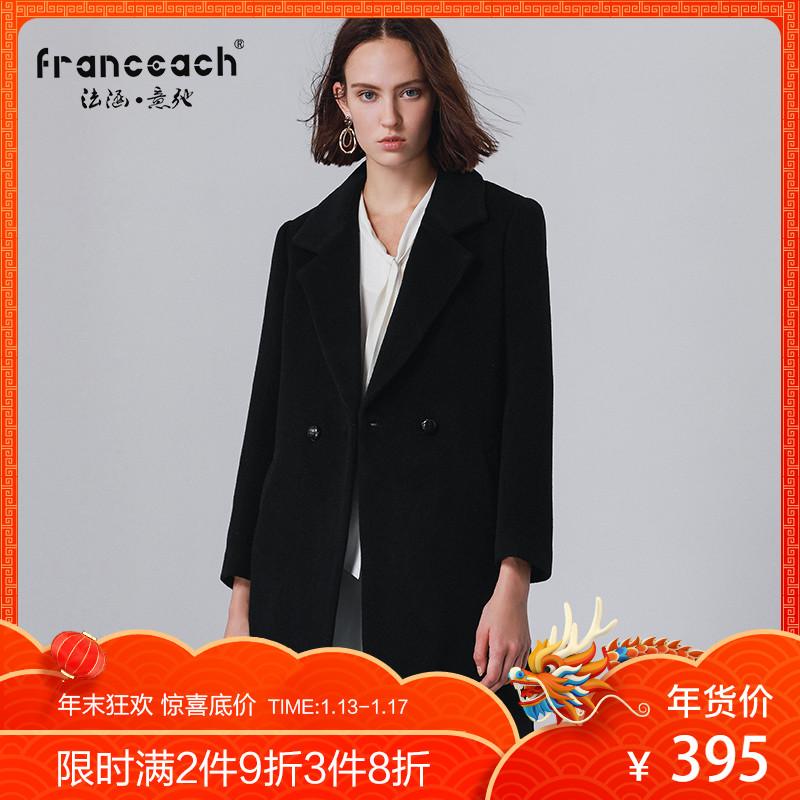 点击查看商品:品牌职业冬装新款欧美黑色H型毛呢外套中长款羊毛呢子大衣女加厚