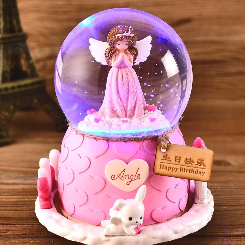 圣诞节水晶球旋转音乐盒八音盒雪花跳舞公主儿童生日礼物女生女孩