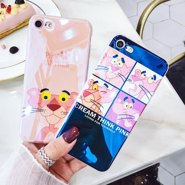 蓝光粉红豹iphoneX卡通7硅胶7plus防摔苹果8p全包6手机壳8软壳7p