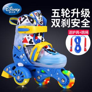 迪士尼溜冰鞋儿童初学者小童3岁5幼儿女童旱冰双排滑冰轮滑鞋套装