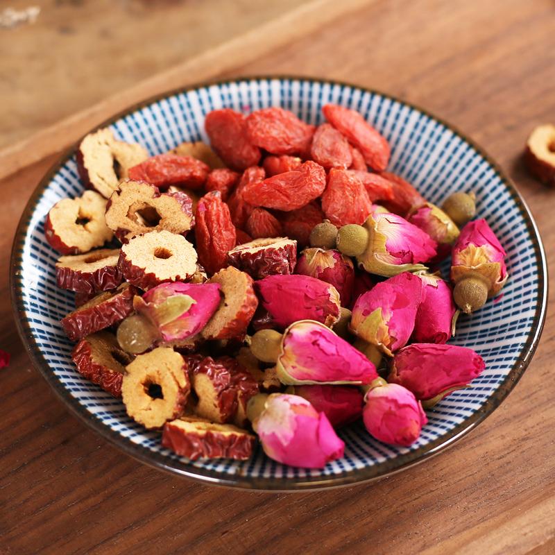 干玫瑰花茶红枣干片枸杞组合花茶叶小袋装花草茶包
