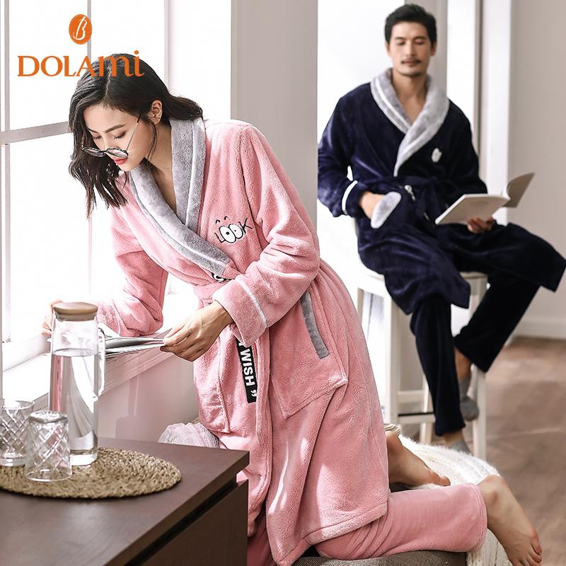 秋冬季情侣睡袍两件套加厚法兰绒浴袍女士情侣睡衣男士珊瑚绒浴衣