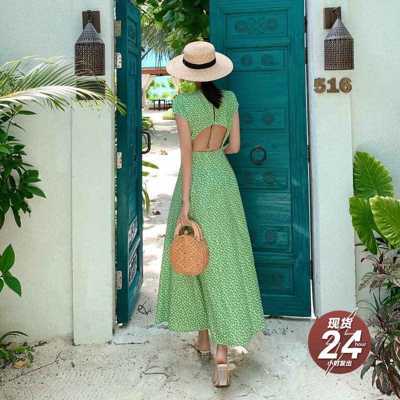 岛歌夫人巴厘岛渡假裙海边沙滩裙修身显瘦裙露背碎花长裙连衣裙女