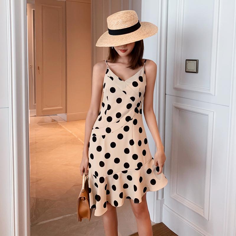 腰V领气质修身显瘦雪纺连衣裙