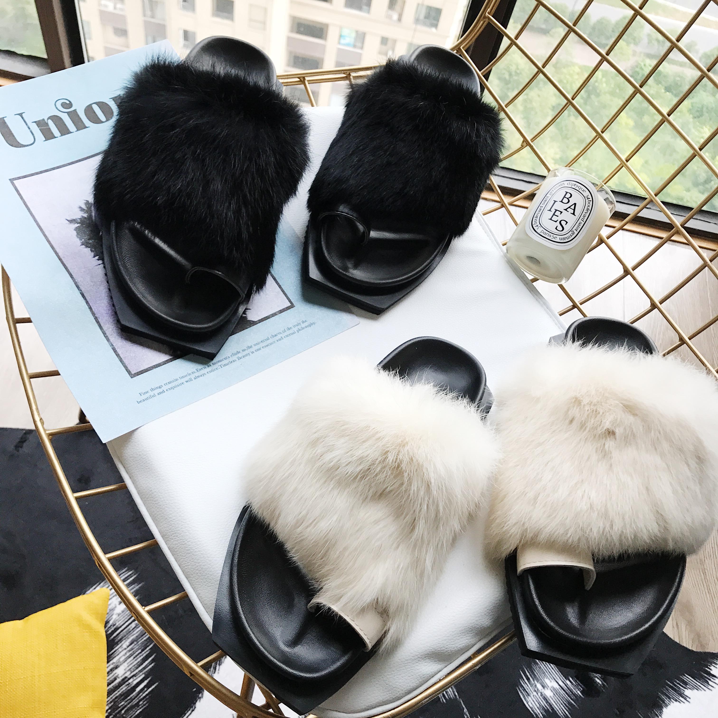 2017秋季新款韩版平底套趾一字型毛毛拖鞋舒适百搭潮流毛毛鞋女鞋