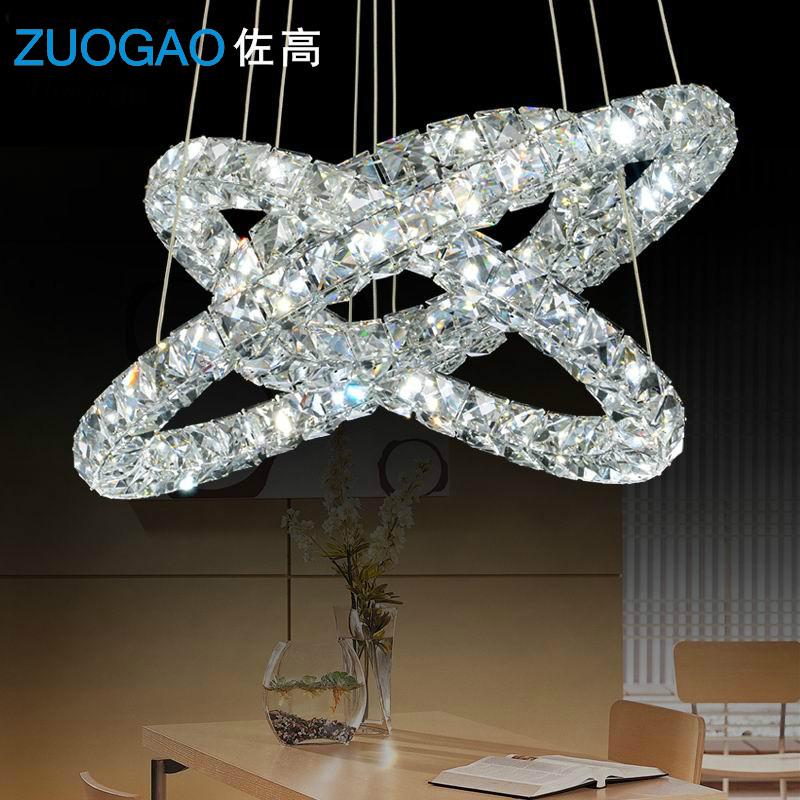 现代不锈钢圆环形LED三面水晶吊灯客厅灯餐厅吊灯圆圈形灯具灯饰-ZUOGAO佐高灯饰