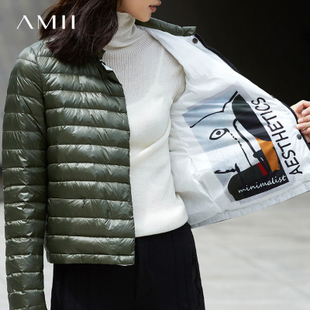 Amii[极简主义]冬90绒两面穿白鹅绒短款轻薄羽绒服女装大码